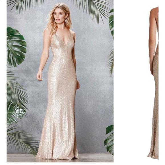 Dress The Population Dresses Pale Blush Sequin Gown Poshmark